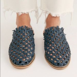 NWOB! Free People Mirage woven blue leather mule 7